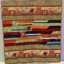 """Rustic Wilderness Park Quilt 44"""" x 48"""" Cotton Forest Animals Wall Hanging Throw"""