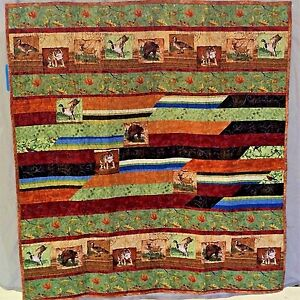 "Rustic Wilderness Park Quilt 44"" x 48"" Cotton Forest Animals Wall Hanging Throw"