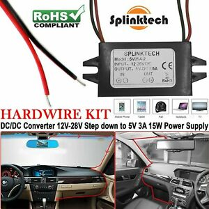 12V to 5V Power Adapter 3Amp Car Motor DC Converter Connector Charger Module