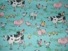 BTY Watercolor FARM ANIMALS on Turq Print 100% Cotton Quilt Craft Fabric by Yard