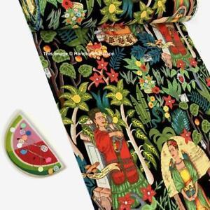5 Yard Hand Block Print Handmade Cotton Indian Black Frida Kahlo Print Fabric.