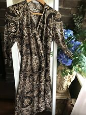 Portmans Wrap Dress Brown Print Size S 8 10 Stretch 3/4 Sleeve Ladies Women's