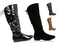 WOMENS LADIES FLAT ZIP UP SLOUCH MID CALF LACE DETAIL RIDING CASUAL BOOTS