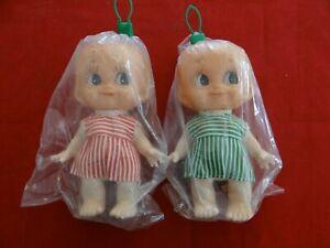 """Set Of 2 NEW OLD STOCK DOLLS 8"""" Cupie Kewpie Dolls Hong Kong LOOK!"""