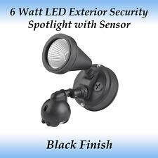 6 Watt LED Exterior Security Spotlight in Black with Sensor