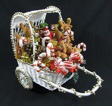 Vintage White Wicker Sleigh Cart Basket Christmas Decor Home Made Table Display