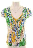 CALVIN KLEIN Womens Ruffle Front Top Blouse Size 14 Large Multicoloured