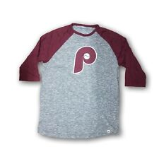 Philadelphia Phillies Men's Majestic 3/4's Sleeve Gray/Burgundy New Without Tags
