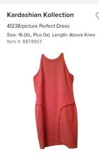 NWT Kim Kardashian Kollection Coral Bodycon Sexy Dress w embroidered Detail SZ16