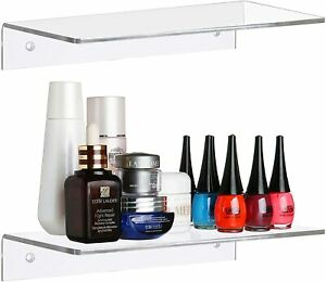 12 Inch Contemporary Clear Acrylic Floating Shelf/Wall Mounted Display Organizer