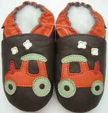 soft sole leather baby shoes toddlers tractor brown 24-36 months minishoezoo
