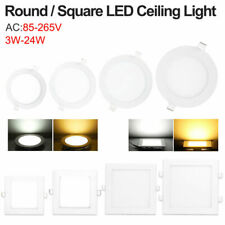3/18/24W LED Panel Lights Recessed Ceiling Lamps Bathroom Downlight Round/Square