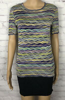 Missoni Shirt Knit Multi Color Stripes Abstract Rayon Silk Made In Italy 42 US 8