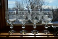"""Set of 4 Bohemia Crystal CASCADE Water Goblets Wine 6 5/8"""" Etched Floral Heart"""