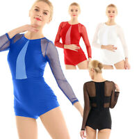 Women's Ladies Long Sleeves Contemporary Ballet Dance Gymnastics Leotard Unitard