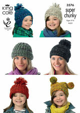3576 Hats & Helmet Super Chunky Knitting Pattern King Cole Knits Age 4 to Adults