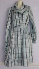 New Ladies jade/black mix check Satin Belted Raincoat Size 12