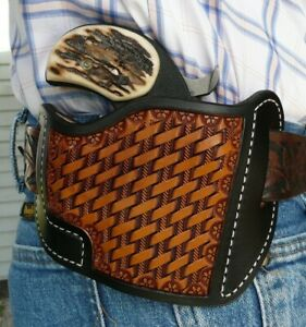 """Leather Holster Bond Arms 3"""" Texas Defender w/Trigger Guard Ruff's Black & Tan"""
