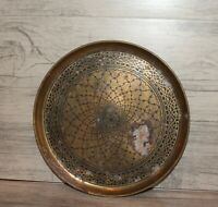 Vintage brass round serving tray platter