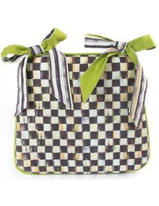 Qty 4 Mackenzie Childs COURTLY CHECK Fabric SEAT CUSHION Green Bottom NEW m20-jl
