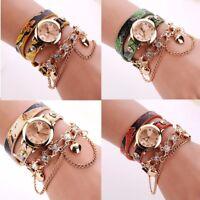Women's Fashion Snake PU Leather Crystal Quartz Watch Ladies Bracelet Wrist Gift