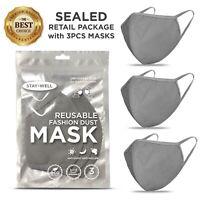 3 PCS Face Mask, Gray Fashion Mask, Washable Reusable, Unisex Mask *US SELLER*