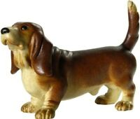 Skulptur Hund Dackel CM 6,7 Geschnitzt IN Holz Der IN Gröden Dekoriert Hand