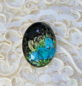 30X40mm Teal Gold Roses NO Glitter Unset Handmade Glass Art Bubble Cameo Cab