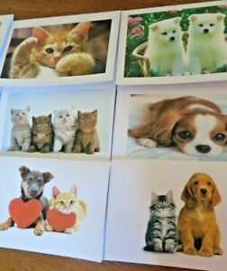 Pack of 10 Cats & Dog Cute notelets / card + envelope assorted