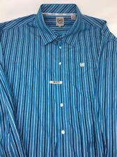 Cinch Blue Striped Button Front L/S Riding Dress Shirt Mens XXL 2XL