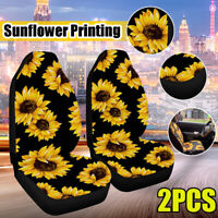 2Pcs/Set Sunflower Universal Car Seat Covers Front Seat Cushion Protectors New