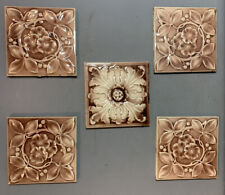 Lot (5) Antique 19thC Victorian Era Glazed Flower Old Salvage Fireplace Tiles