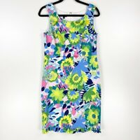 Talbots Womens 4 Sheath Dress Multicolor White Floral Ruffle Scoop Neck Stretch