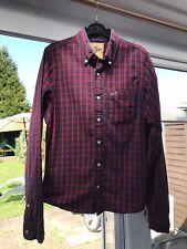 Hollister Shirt Mens Medium Check Blue Red Plaid Tartan Button Down Long Sleeve