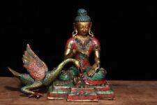 Old Tibetan Buddhism Bronze Inlay Turquoise Swan Green Tara Bodhisattva Statue