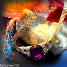Necklace Dull Gold Chain Unusual jewelry Jewellery Amethyst Glass gem crystal