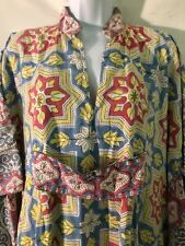 Vtg 70s Block Print Pakistan caftan cotton tunic dress resort tropical M/L FAB!