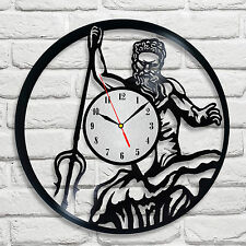 Poseidon dieu grec design vinyle horloge home decor art hobby shop bureau