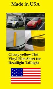 "36"" x 15"" Glossy Yellow Tint Headlight Taillight Vinyl cover Film Sheet any car"