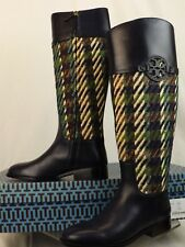 2cd00d9e7e4657 Tory Burch Miller Bright Navy Green Dogtooth Tweed Leather Reva Riding BOOTS  8