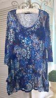 NEW~ Plus Size 1X Blue Floral Boho Blouse Tunic Top Shirt
