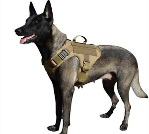 Tactical Dog Harness 2 Metal Buckle Dog MOLLE Vest with Handle Military hunting