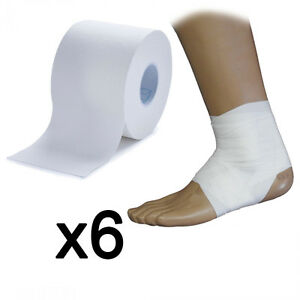 6x Ultimate Performance White Sports Injury Support Zinc Oxide Tape 5cm x 13.6cm