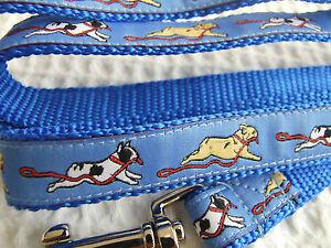 FRENCH BULLDOG BREED SPECIFIC DESIGN RIBBON DOG COLLAR or LEAD LEASH, BLUE, RED