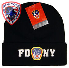FDNY CLOTHING APPAREL FOLDOVER BLACK/WHITE SKI HAT CAP