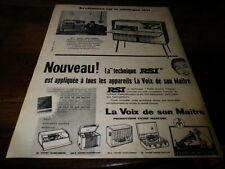 VOIX DE SON MAITRE - TECHNIQUE RSI - Publicité de presse / Press advert !!! 1956