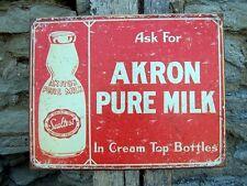 Antique Style Akron Milk Metal Sign Retro Ad Kitchen Cafe Wall Decor Gift USA
