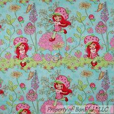 BonEful FABRIC FQ Cotton Quilt Blue Strawberry Shortcake Doll Girl Flower Stripe
