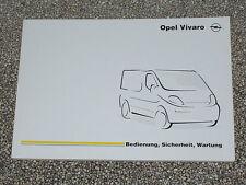 Manual de instrucciones Opel Vivaro, edición 02/2001 (nuevo) #bavi 0201