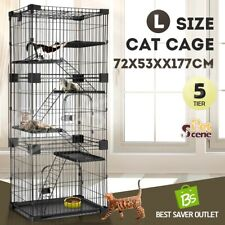 Petscene 5 Level Metal Cat Rabbit Cage Hutch Wired Pet Kennel Enclosure L Size